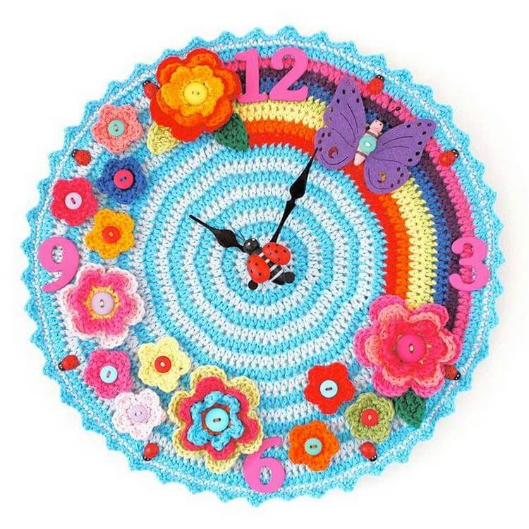 Cute Crochet Wall Clock