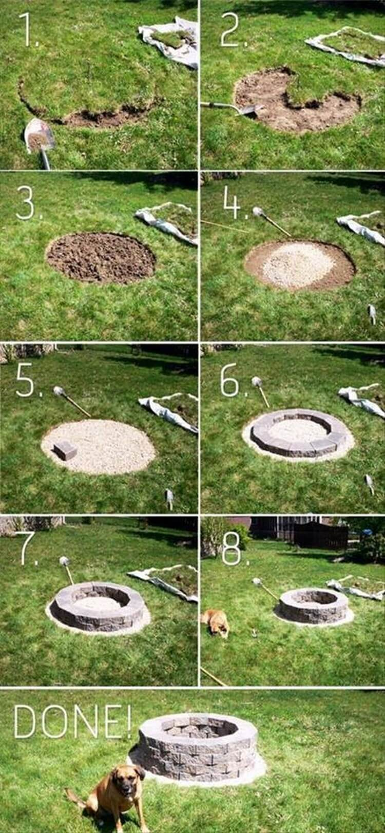 Awesome diy fire pit ideas and designs recycled things for Diy patio fire pit
