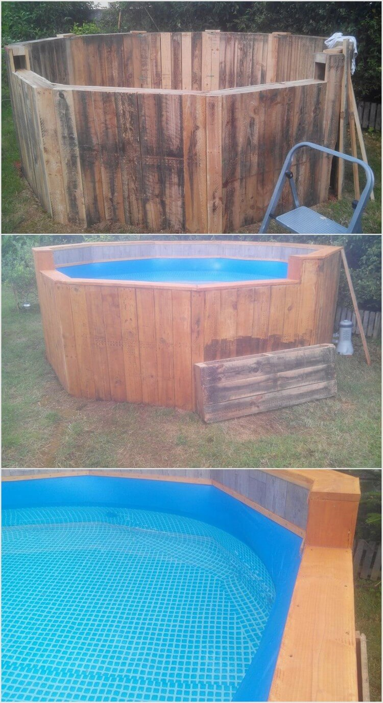 Ingenious ways to give wood pallets second chance for Diy small pool