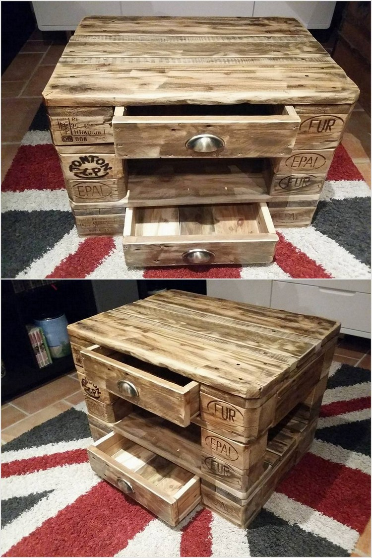 Mini Pallet Table with 2 Drawers