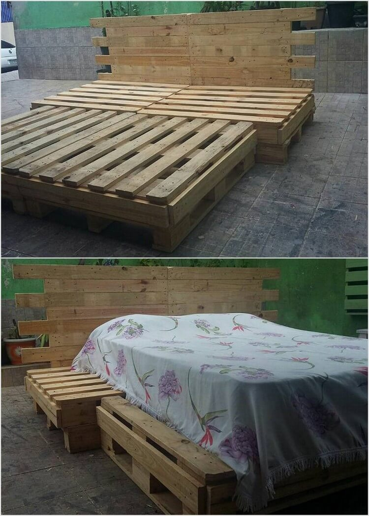 Creative ways to recycle wood pallets into useful things for Bed frame made from pallets