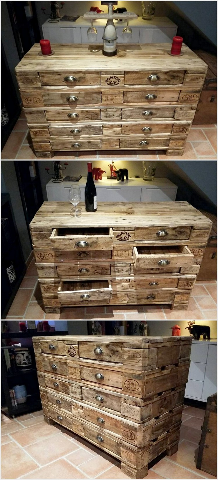 Pallet Entryway Table with Drawers
