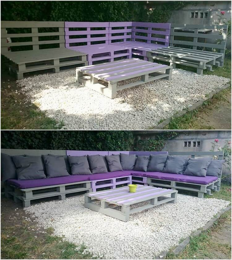 Pallet Garden Corner Sofa and Table