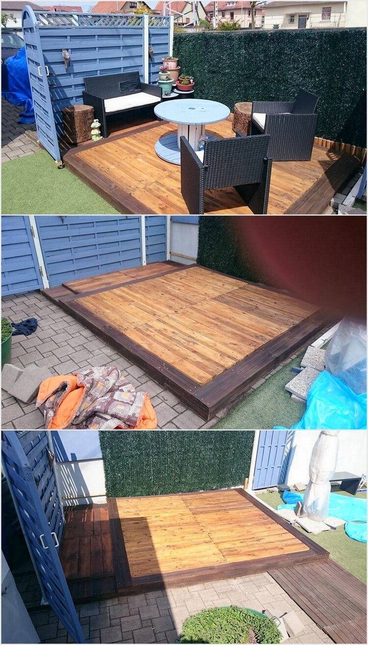 20 creative ideas for wooden pallet reusing recycled things for Garden decking from pallets