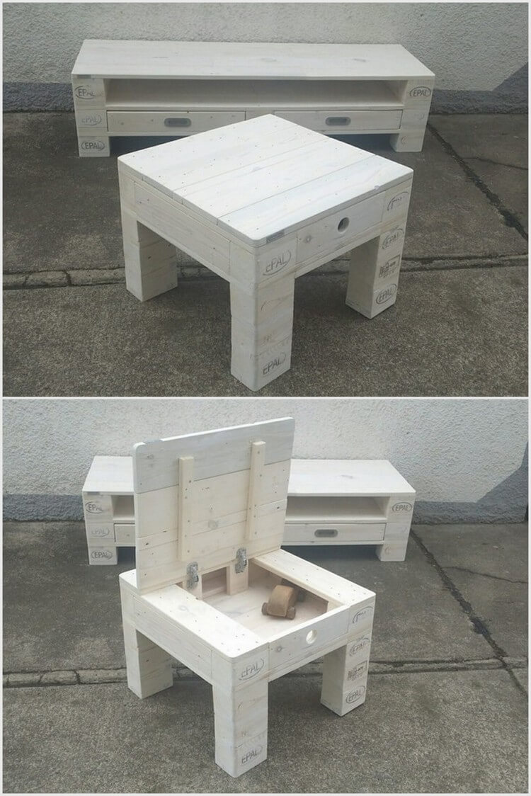 Pallet Media Table and Side Table with Storage