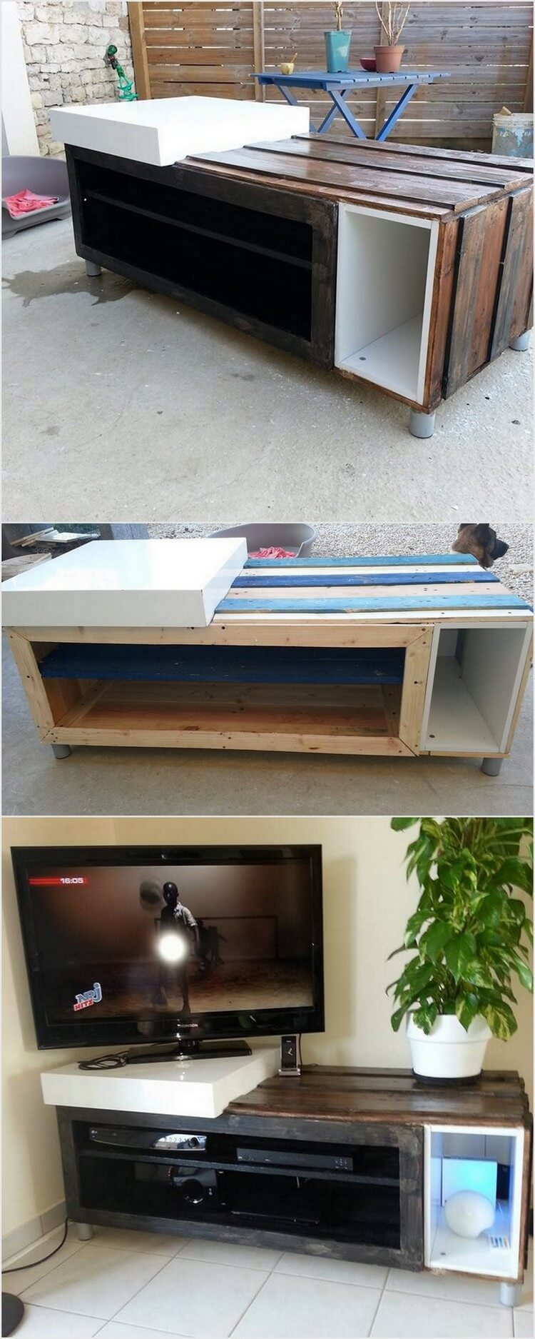 Pallet Media Table with Storage
