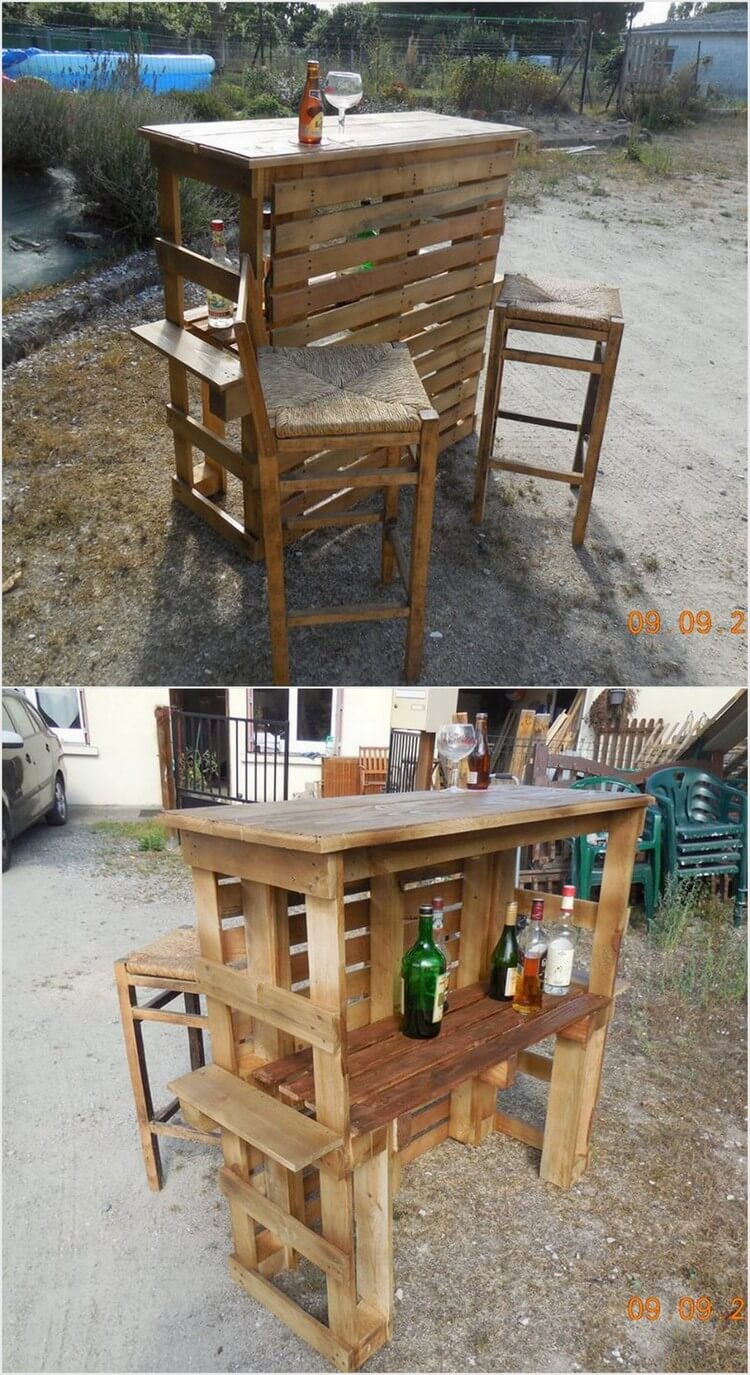 Pallet Outdoor Wine Bar with Stools