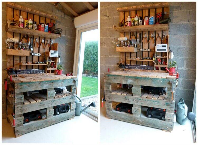 Pallet Tool Rack Bench