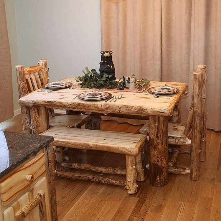 Rustic Dining Table with Chairs and Bench