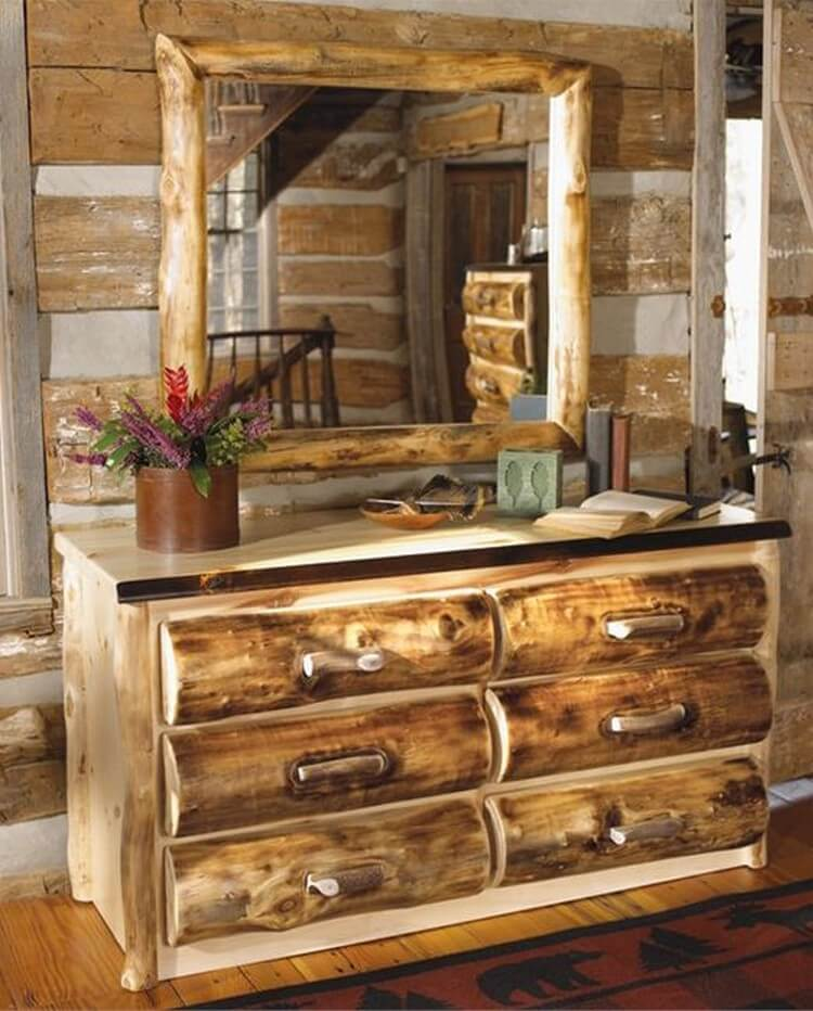 Rustic Dressing Table with Drawers