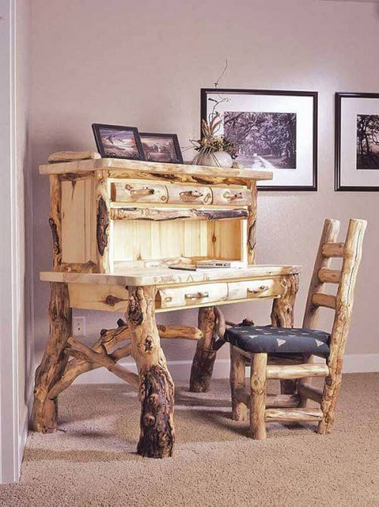 Rustic Table with Drawers and Chair
