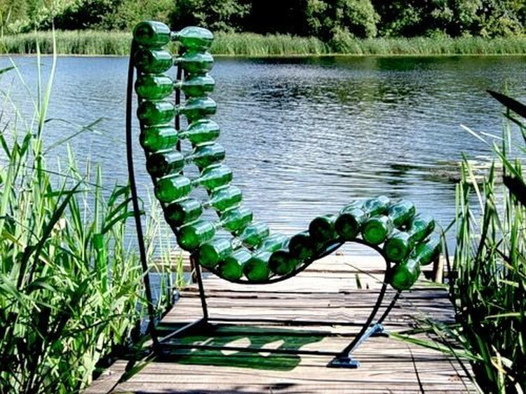 A chair made from wine bottles