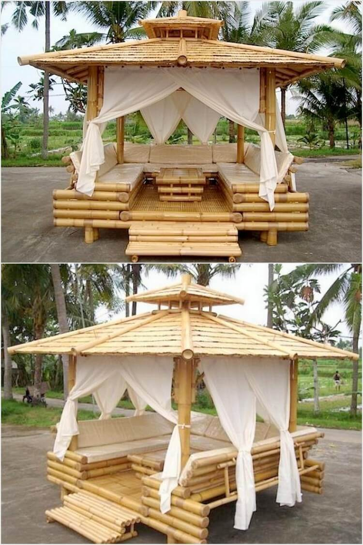 Bamboo Gazebo with Furniture