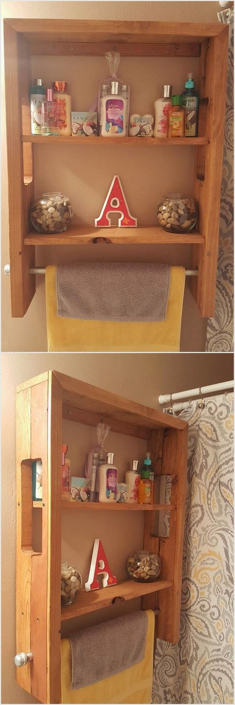 Pallet Bathroom Shelf Towel Rack