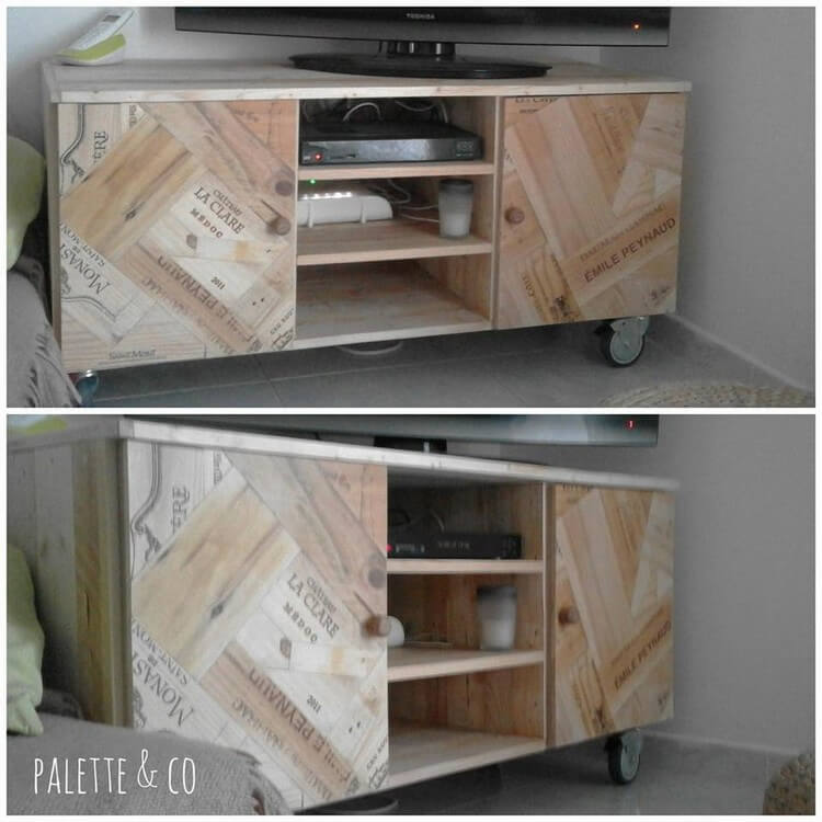 Pallet Media Table and Cabinet