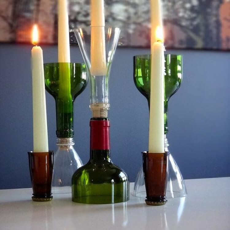 Recycled Glass Wine Bottle Candlestick Holders