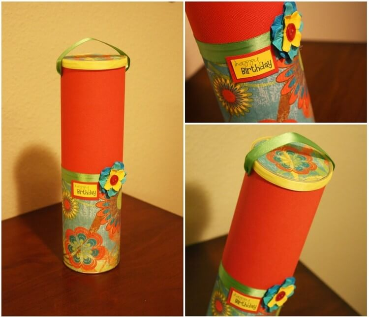 Recycled Pringle Tube Birthday Gift