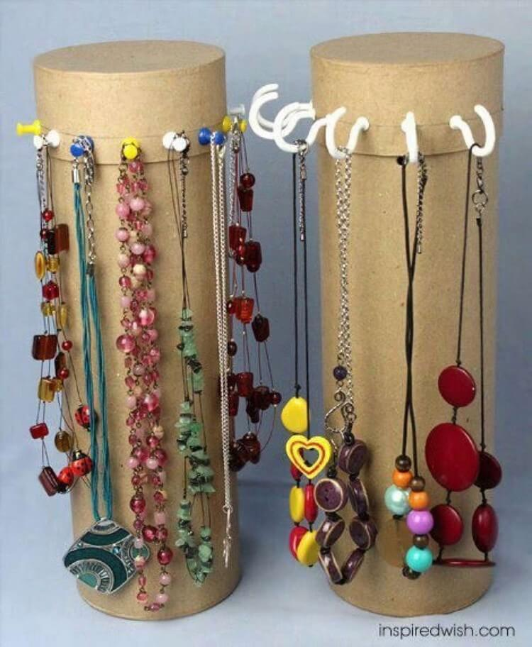 Recycled Pringle Tubes Jewelry Stands