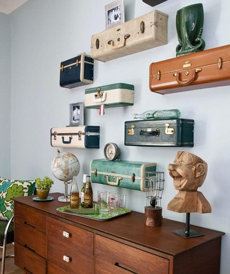 Reused Suitcases Wall Shelves