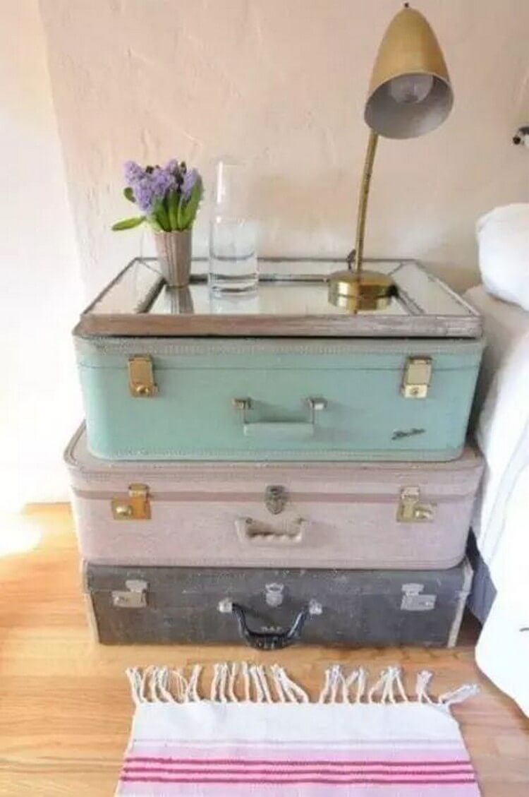 Reusing Suitcases Night Stand