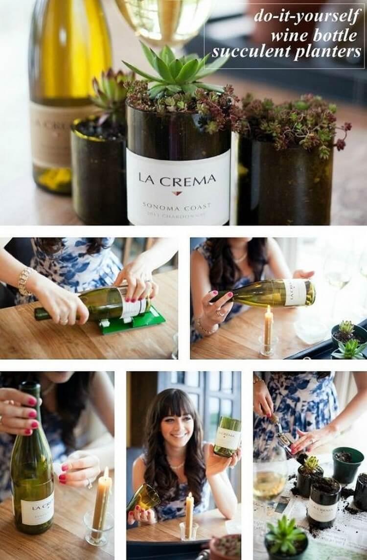 Wine Bottle Succulent Planters