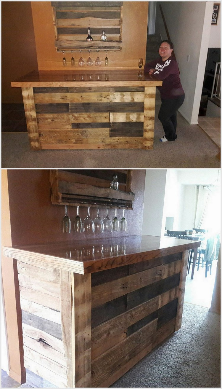 Wood Pallet Bar and Wall Shelf
