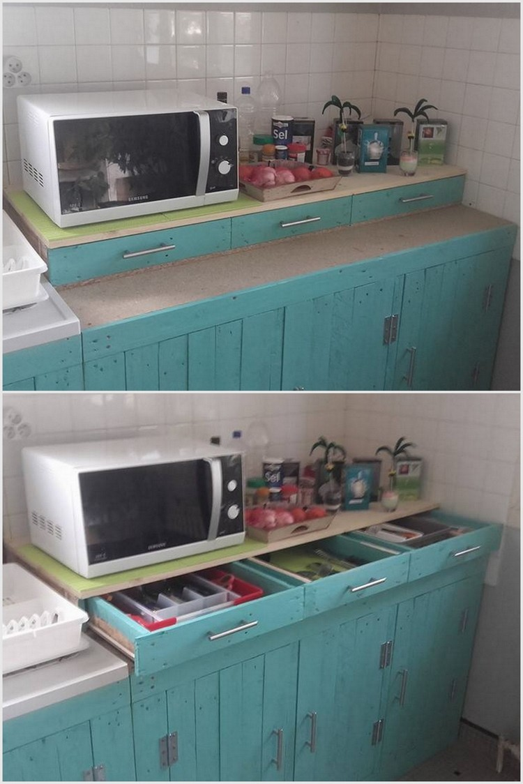 Wood Pallet Kitchen Cabinets and Drawers