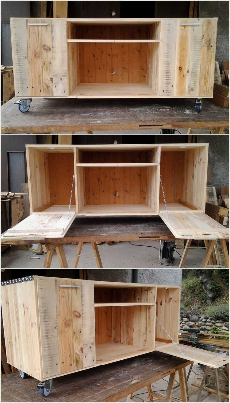 Wood Pallet Media Table - Cabinet