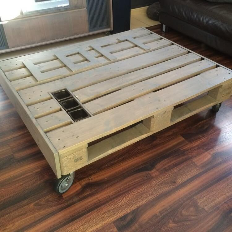Wood Pallet Table with Wheels