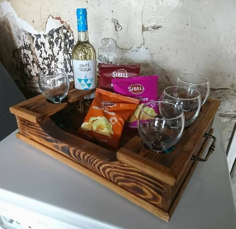 Wood Pallet Tray with Glass Holders