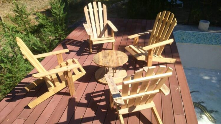 Pallet Adirondack Chairs and Round Table Furniture Set