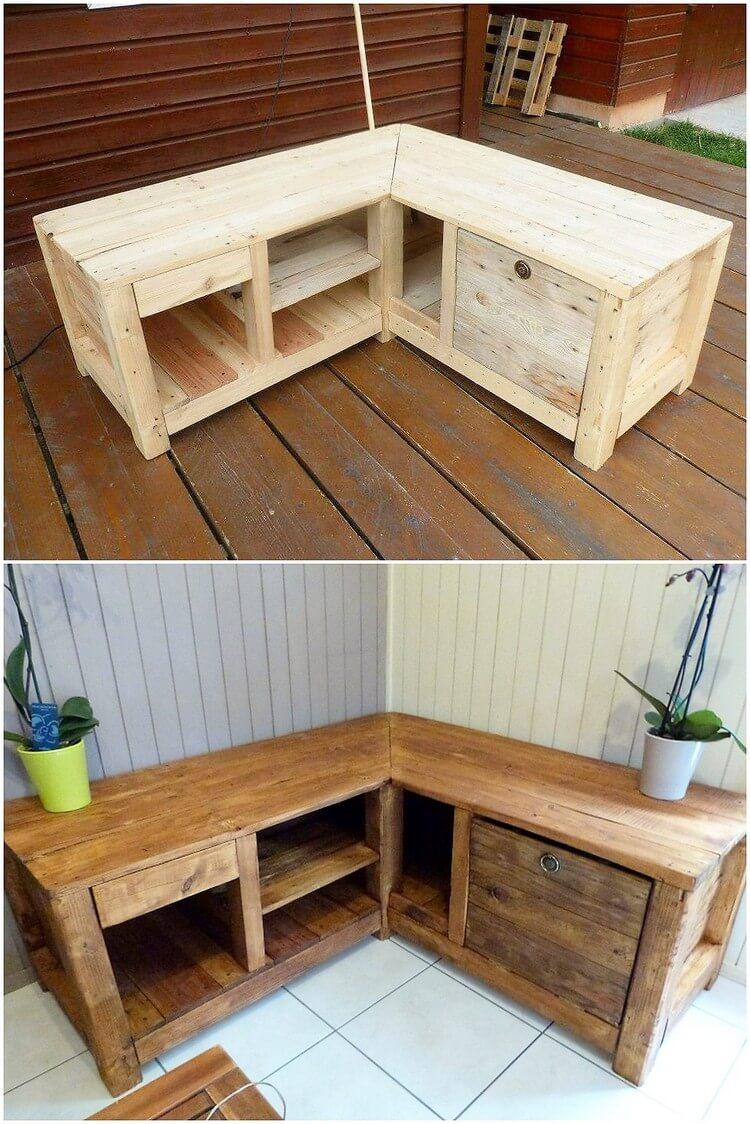 Pallet Media Table Cabinet