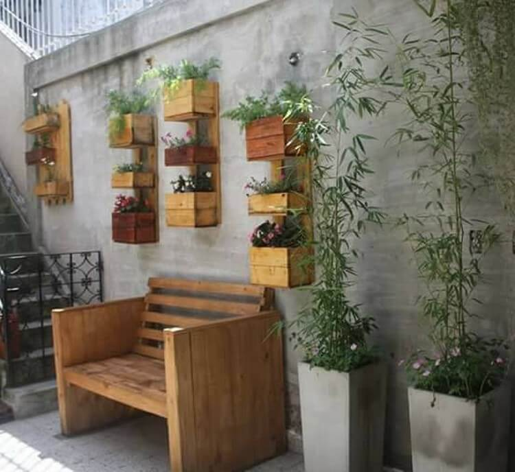 Pallet Outdoor Wall Planters and Bench