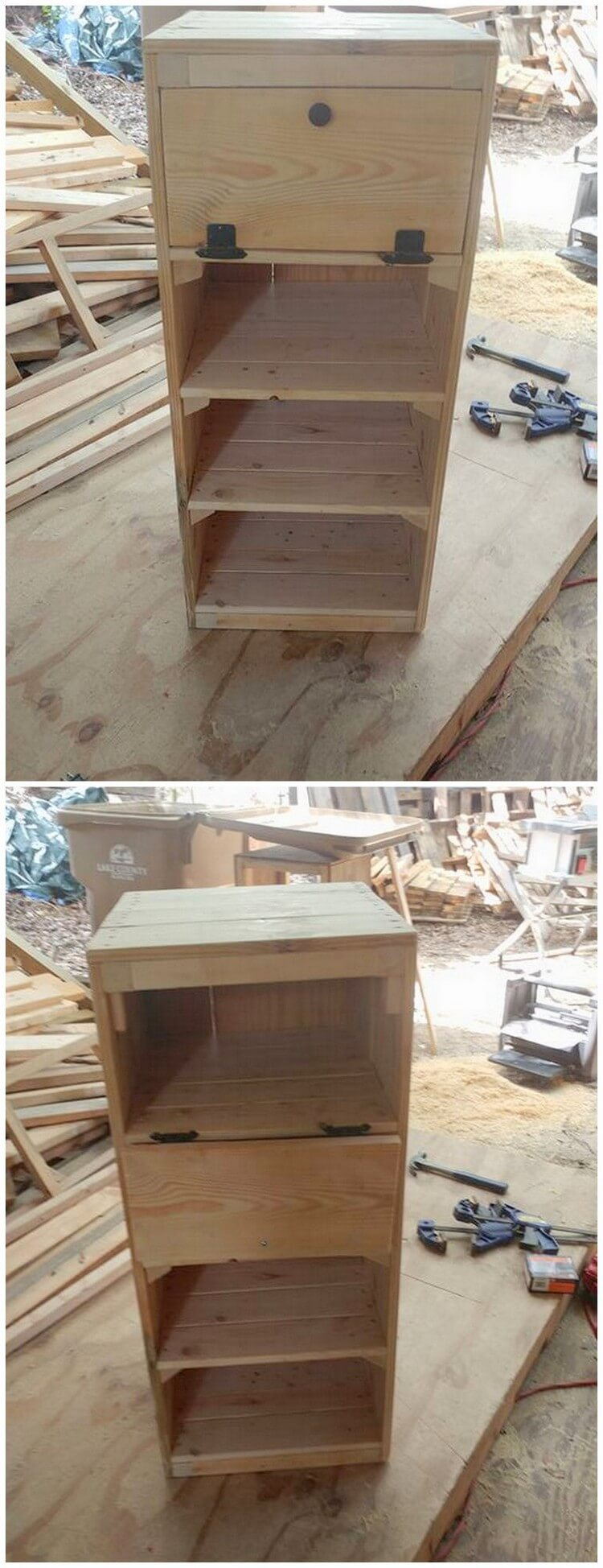 Pallet Side Table or End Table with Drawers