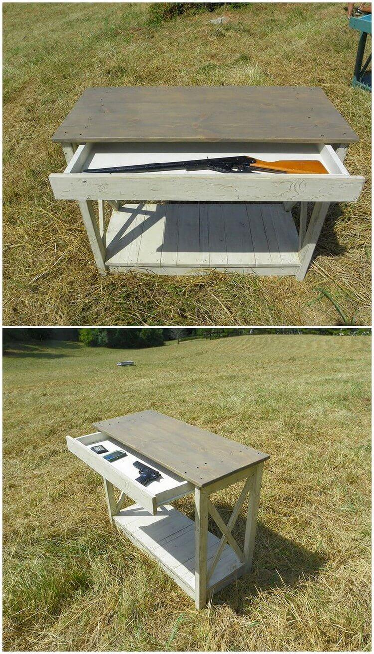 Pallet Table with Gun Storage