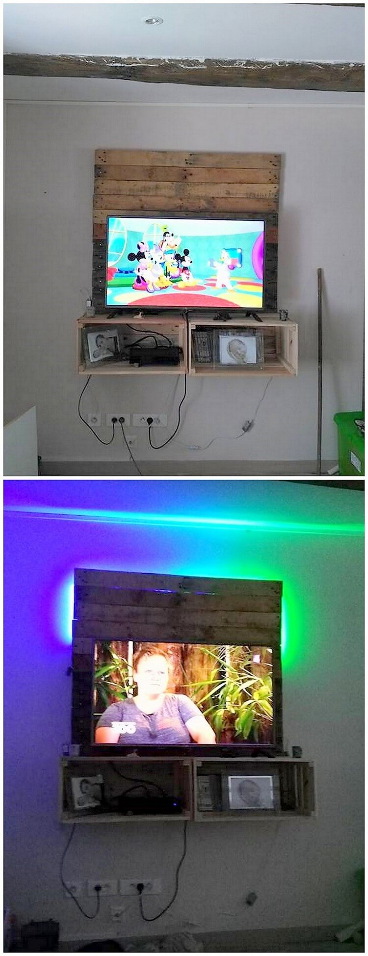 Pallet Wall LED Holder with Shelves