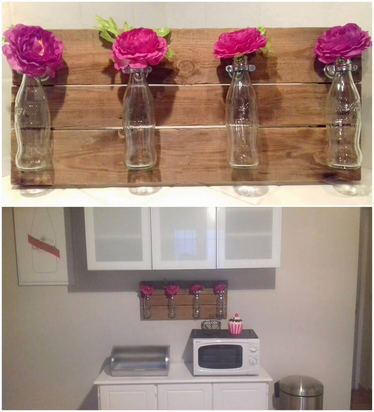Pallet and Glass Bottles Wall Decor