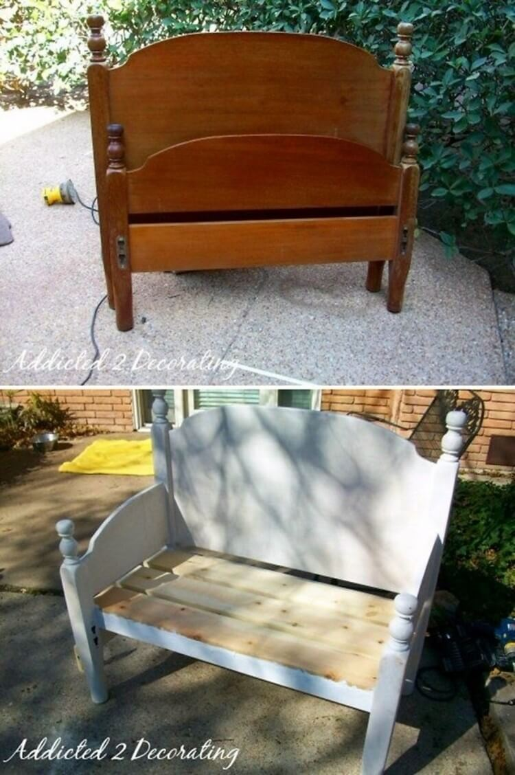 Upcycled Headboard into Outdoor Furniture