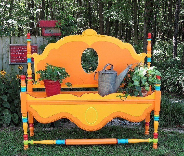 Upcycled Headbord Garden Creation