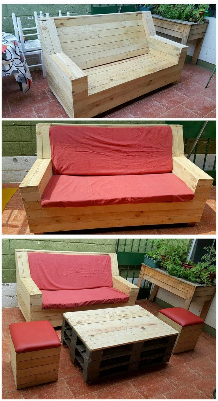 Wood Pallet Patio Couch and Table