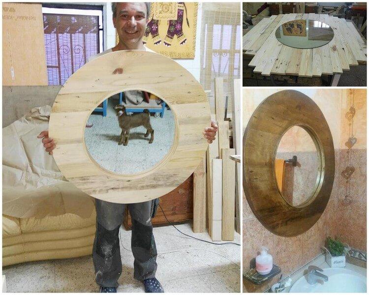 Wood Pallet Round Mirror