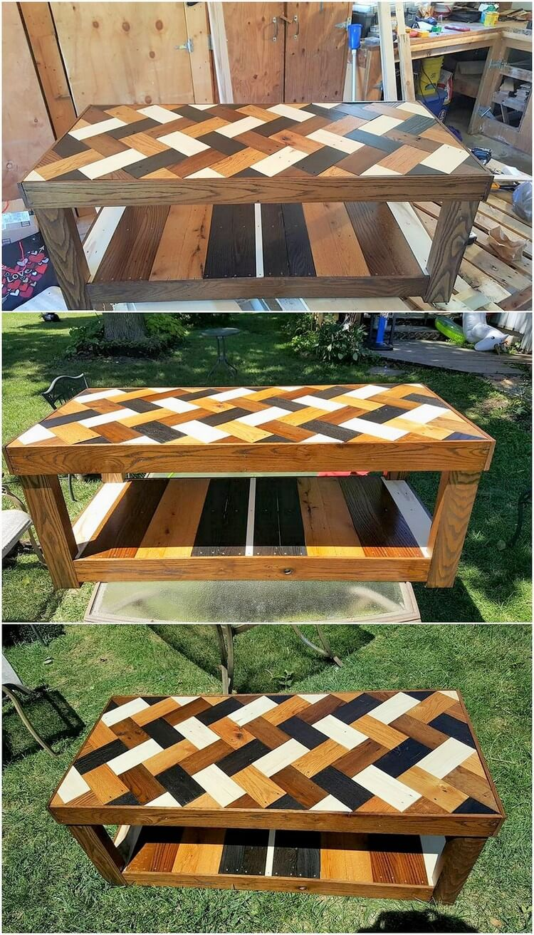 Chevron Style Pallet Table