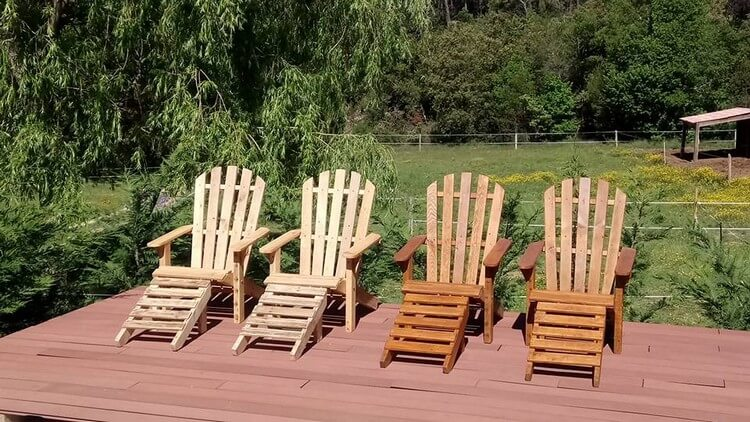 Pallet Adirondack Chairs and Ottomans