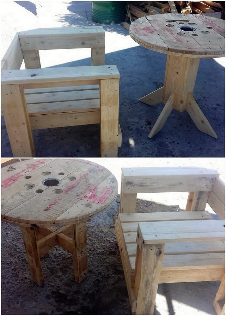 Pallet Chair and Round Table