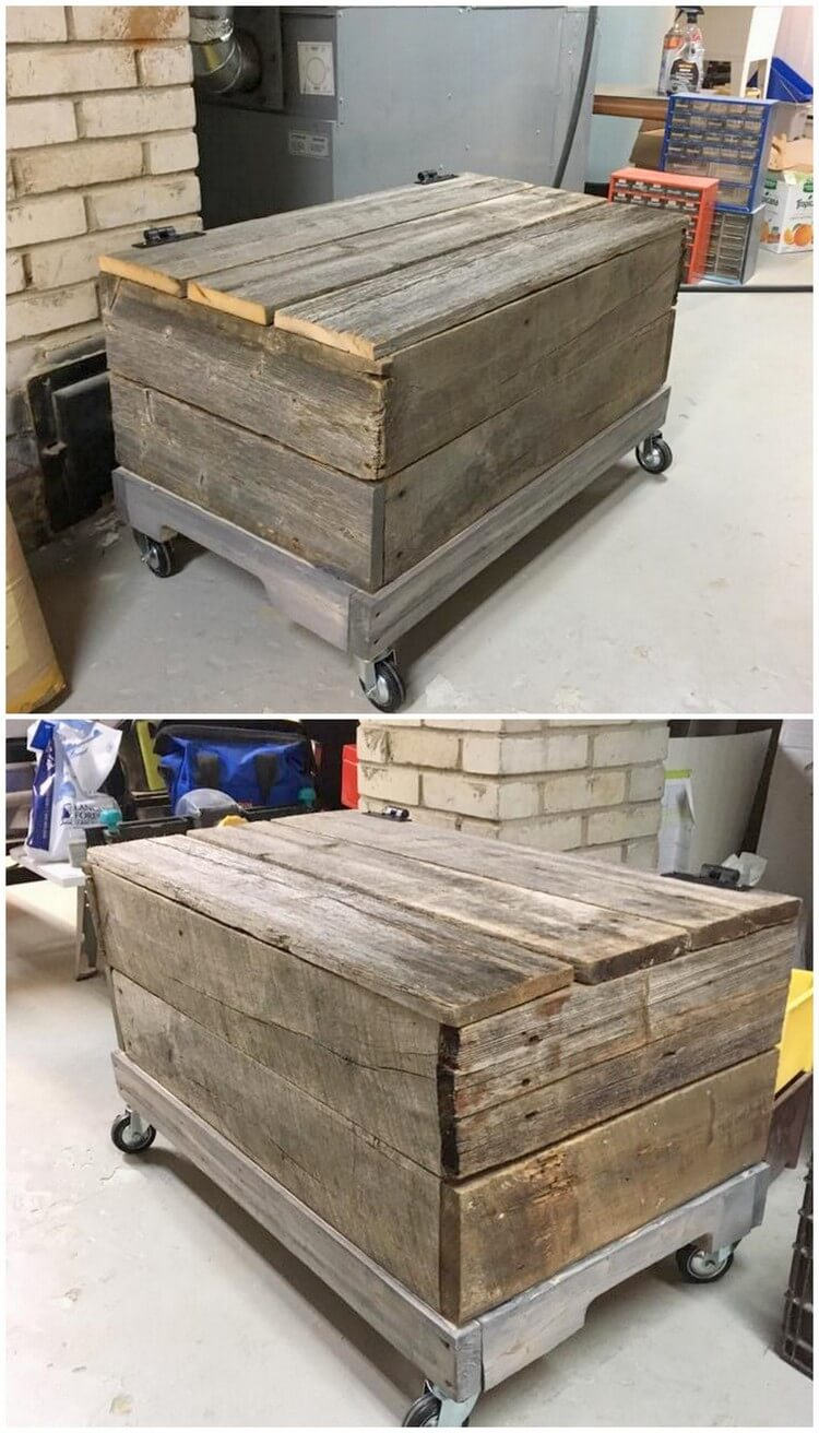 Pallet Storage Box on Wheels