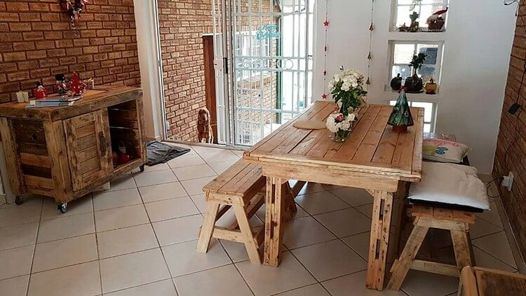 Pallet Table with Benches and Cabinet