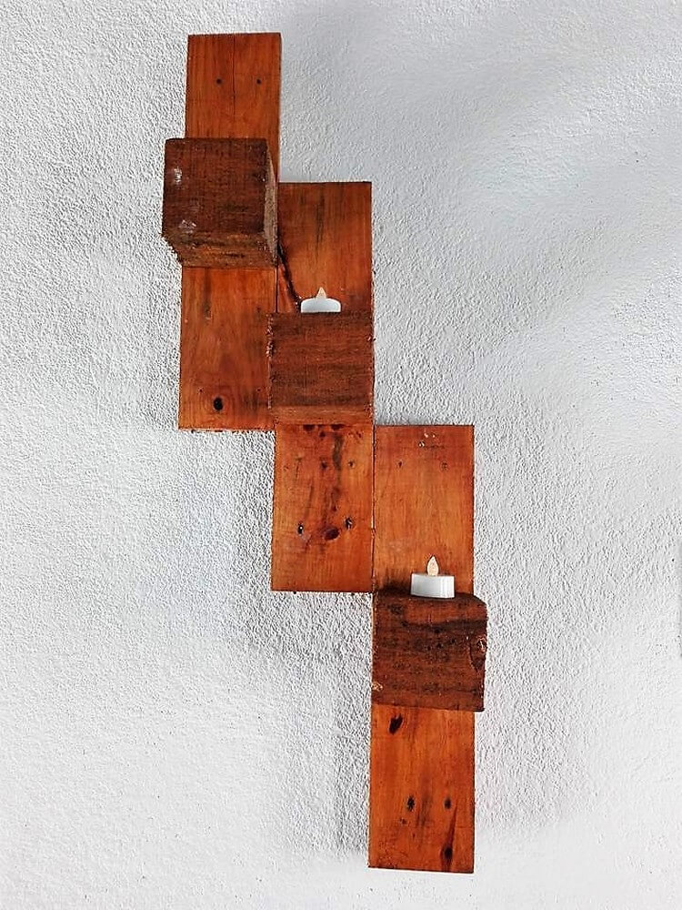 Pallet Wall Candle Holder