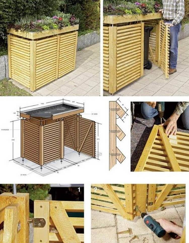 Pallet Wastebin with Planter