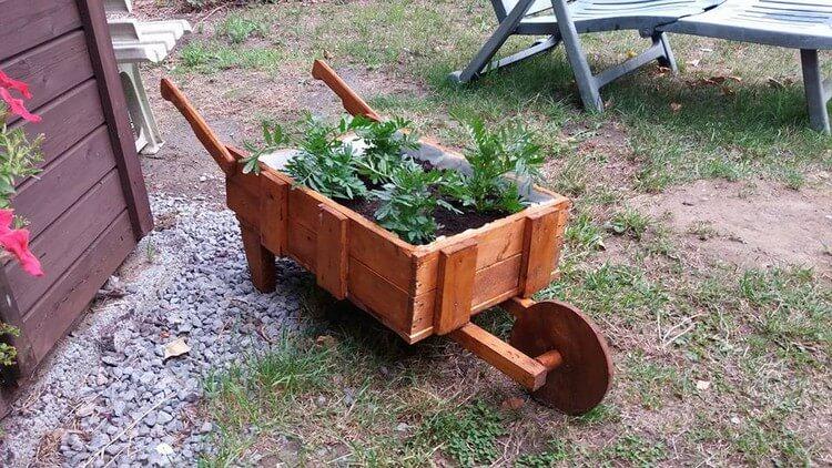 Pallet Wheelbarrow Planter