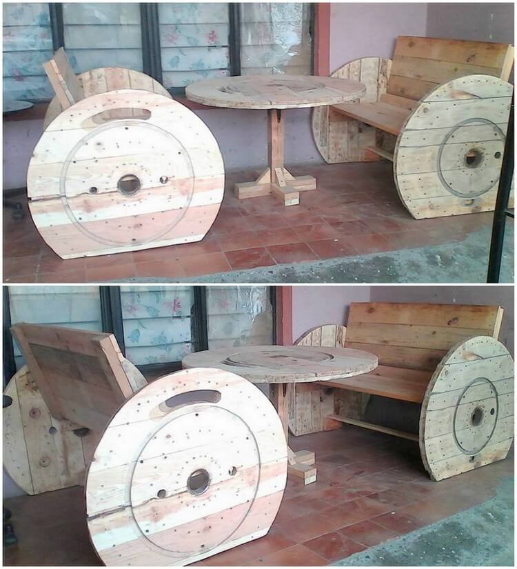 Pallet and Cable Reel Benches and Round Table